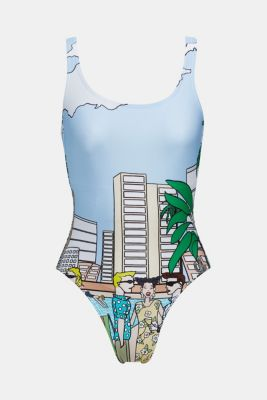 #throwback printed swimsuit, LIGHT BLUE, detail