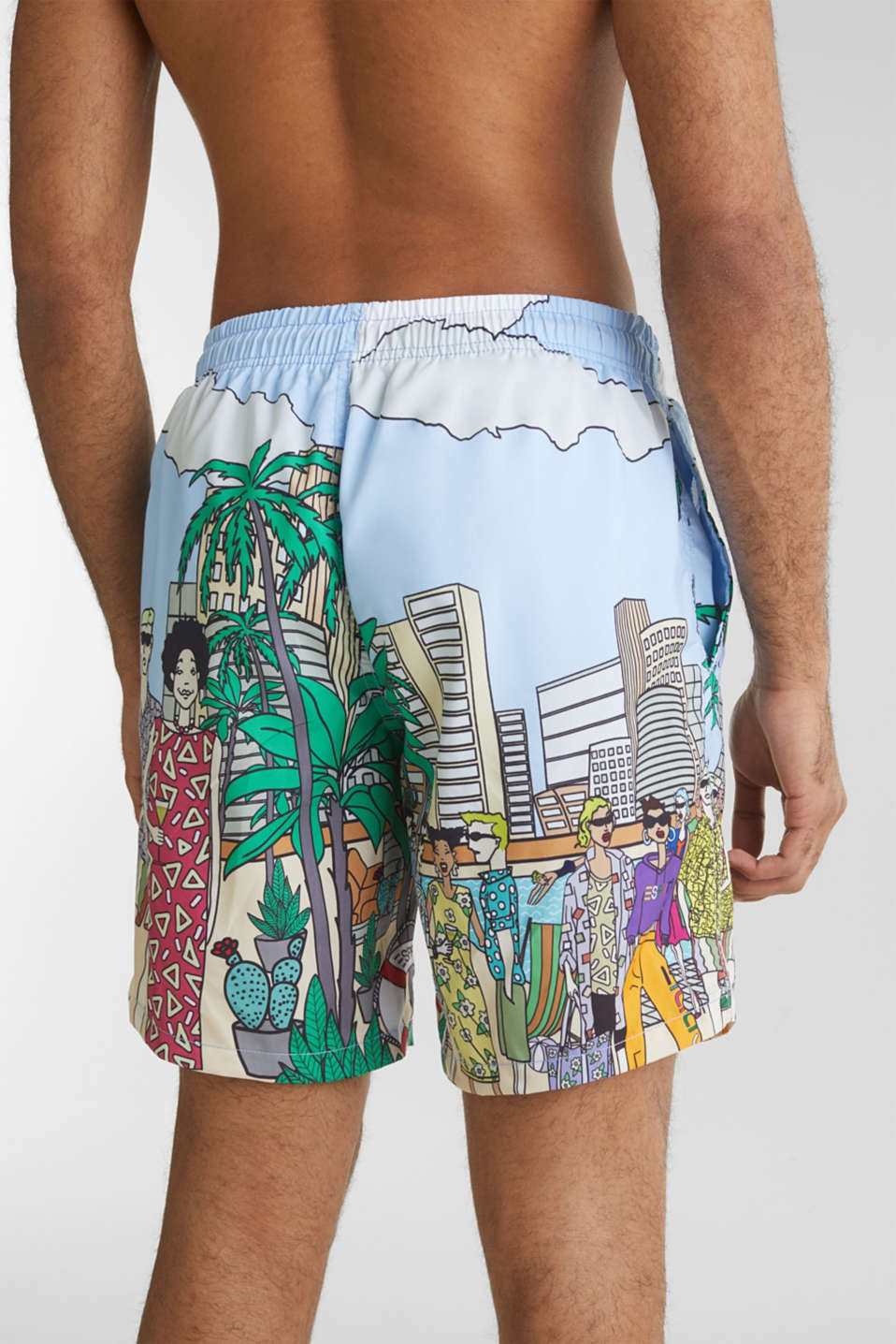 #throwback swim shorts with a print, LIGHT BLUE, detail image number 1