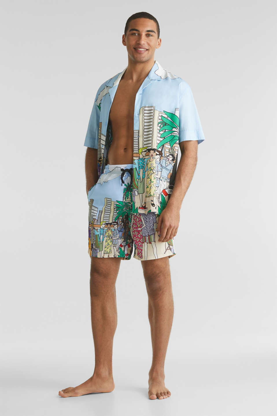 #throwback swim shorts with a print, LIGHT BLUE, detail image number 2