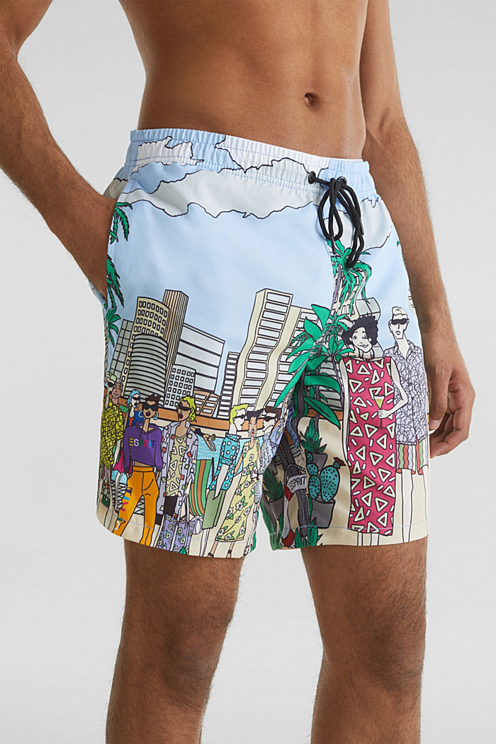 #throwback swim shorts with a print, LIGHT BLUE, detail image number 3
