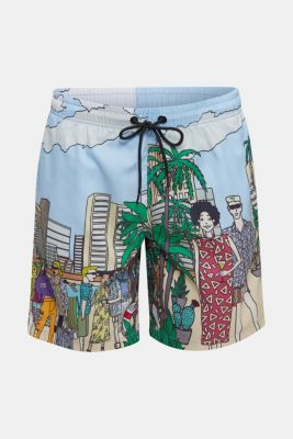 #throwback swim shorts with a print, LIGHT BLUE, detail