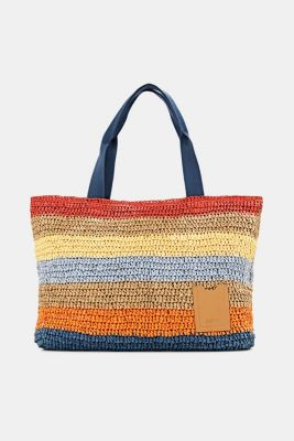 Hand-crafted shopper made of bast, ORANGE, detail