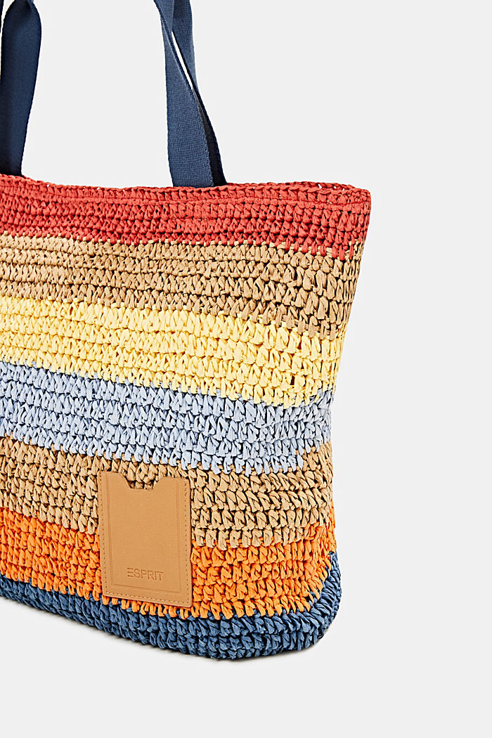 Hand-crafted shopper made of bast, ORANGE, detail image number 5