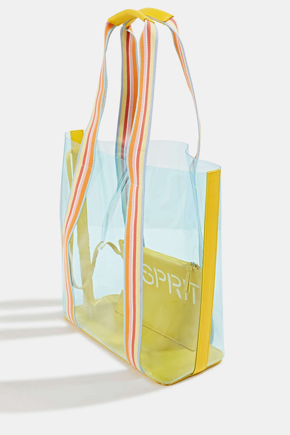 Vinyl shopper with a clutch, YELLOW, detail image number 2