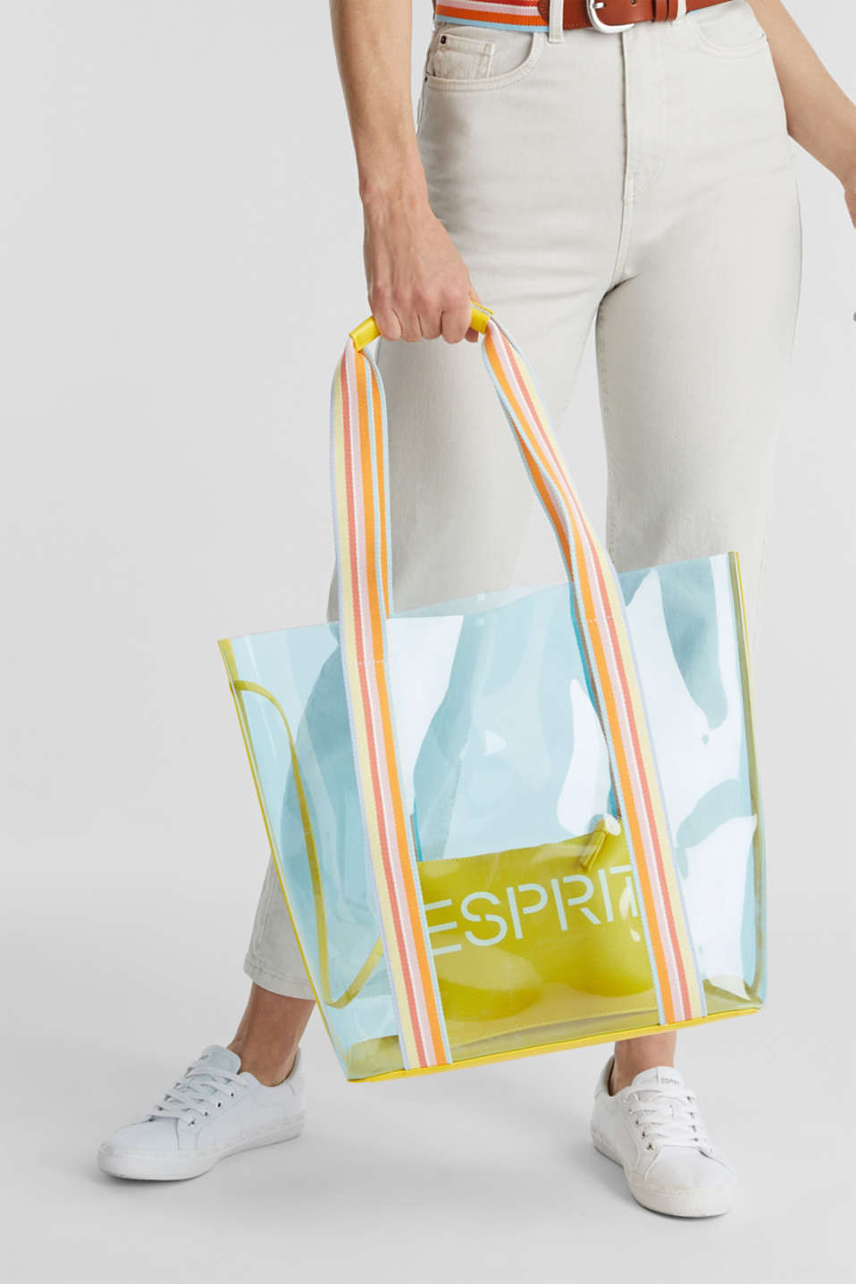 Vinyl shopper with a clutch, YELLOW, detail image number 1