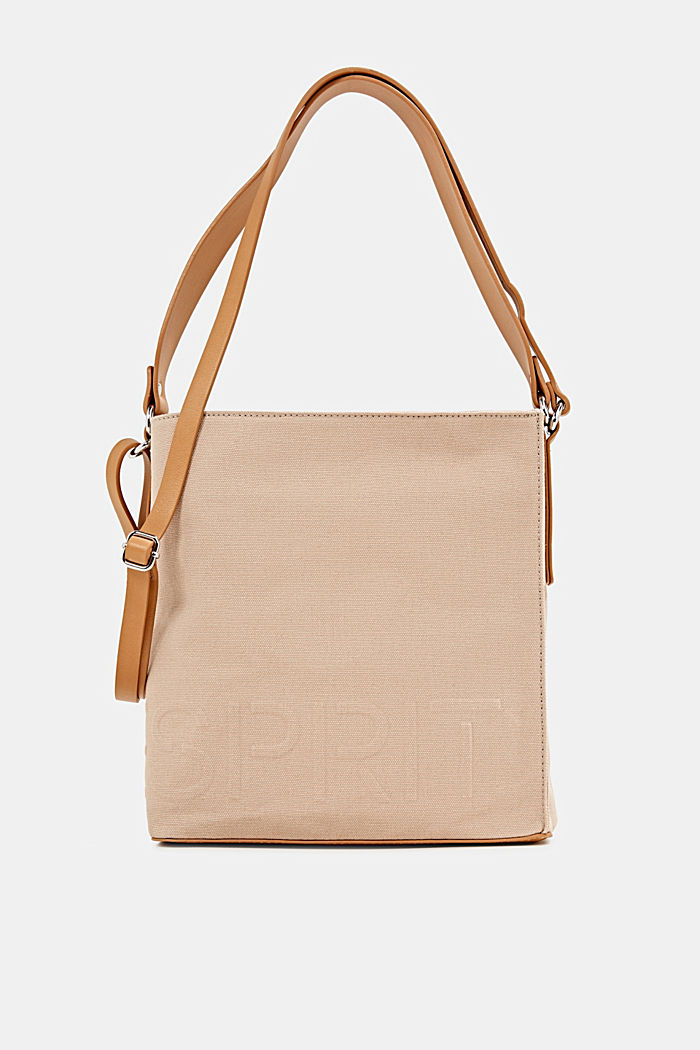 Canvas bag with an embossed logo, BEIGE, detail image number 0