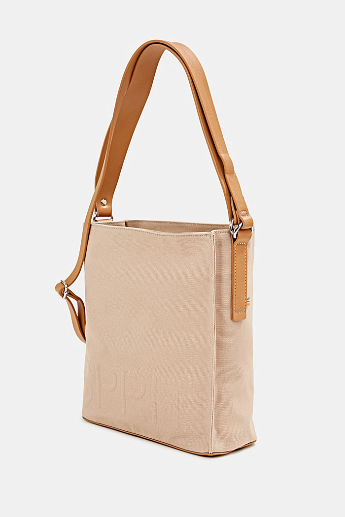 Canvas bag with an embossed logo, BEIGE, detail image number 2