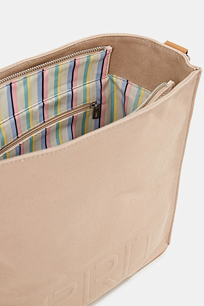Canvas bag with an embossed logo, BEIGE, detail image number 4