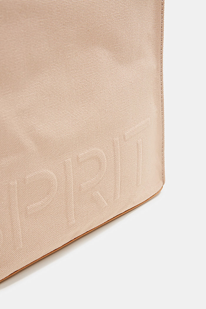 Canvas bag with an embossed logo, BEIGE, detail image number 3