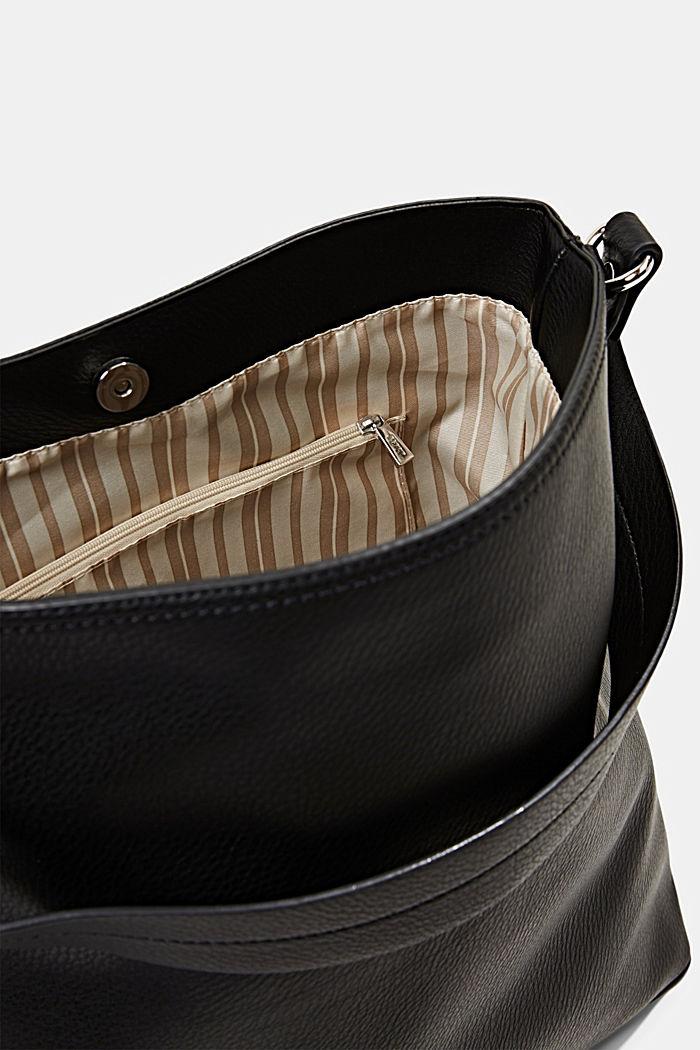 Taška typu hobo se vzhledem kůže, BLACK, detail image number 4