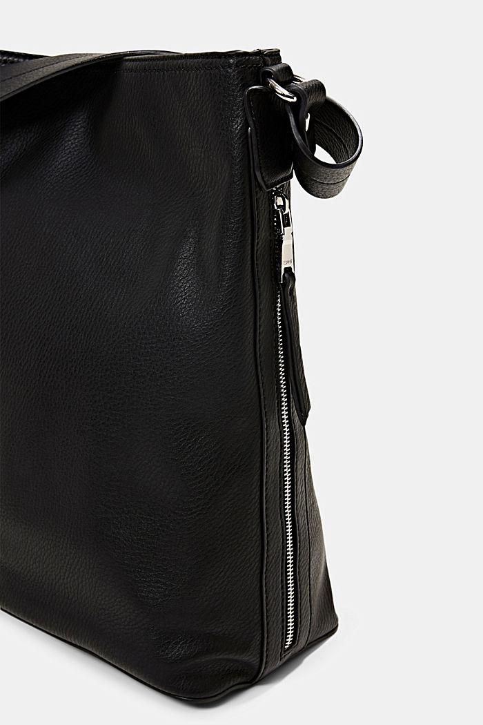 Taška typu hobo se vzhledem kůže, BLACK, detail image number 3