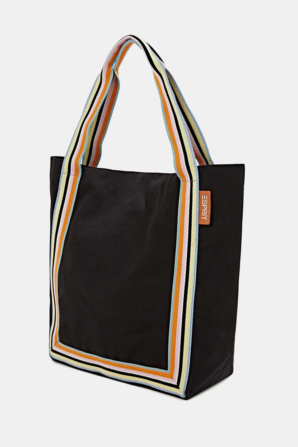 Canvas shopper made of 100% cotton, BLACK, detail image number 2