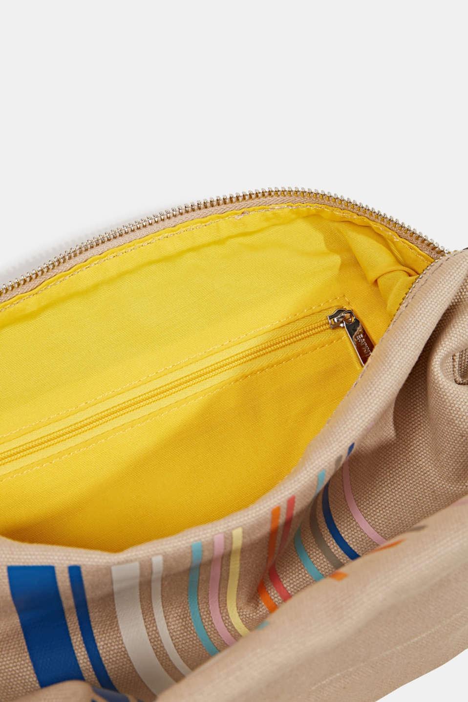 Canvas shoulder bag, BEIGE, detail image number 4