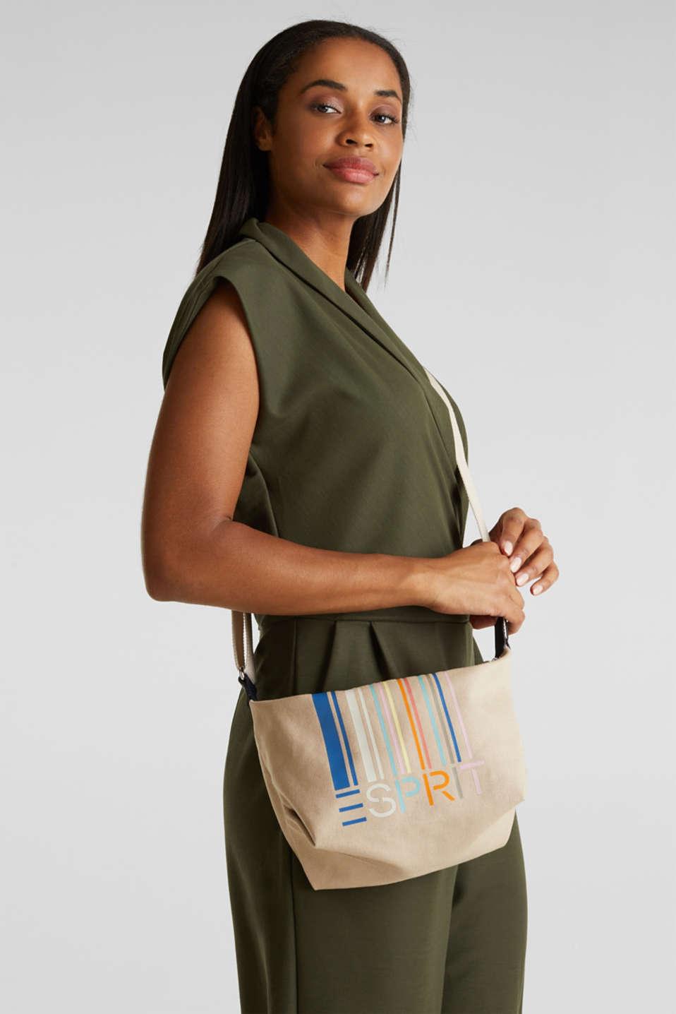 Canvas shoulder bag, BEIGE, detail image number 1