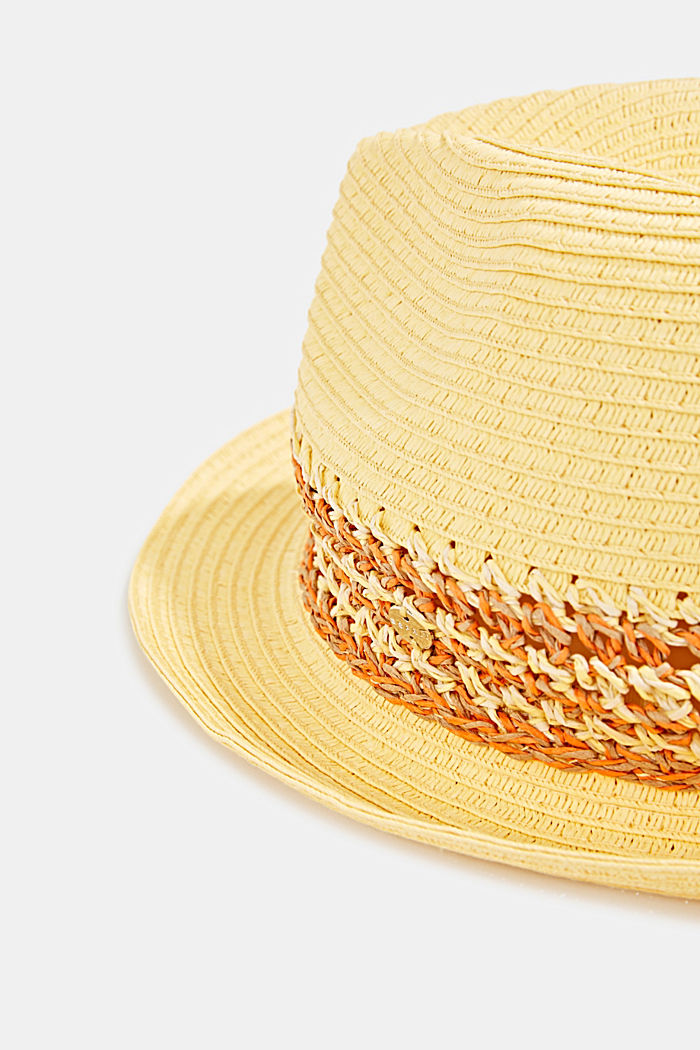 Cappello trilby in paglia, YELLOW, detail image number 1