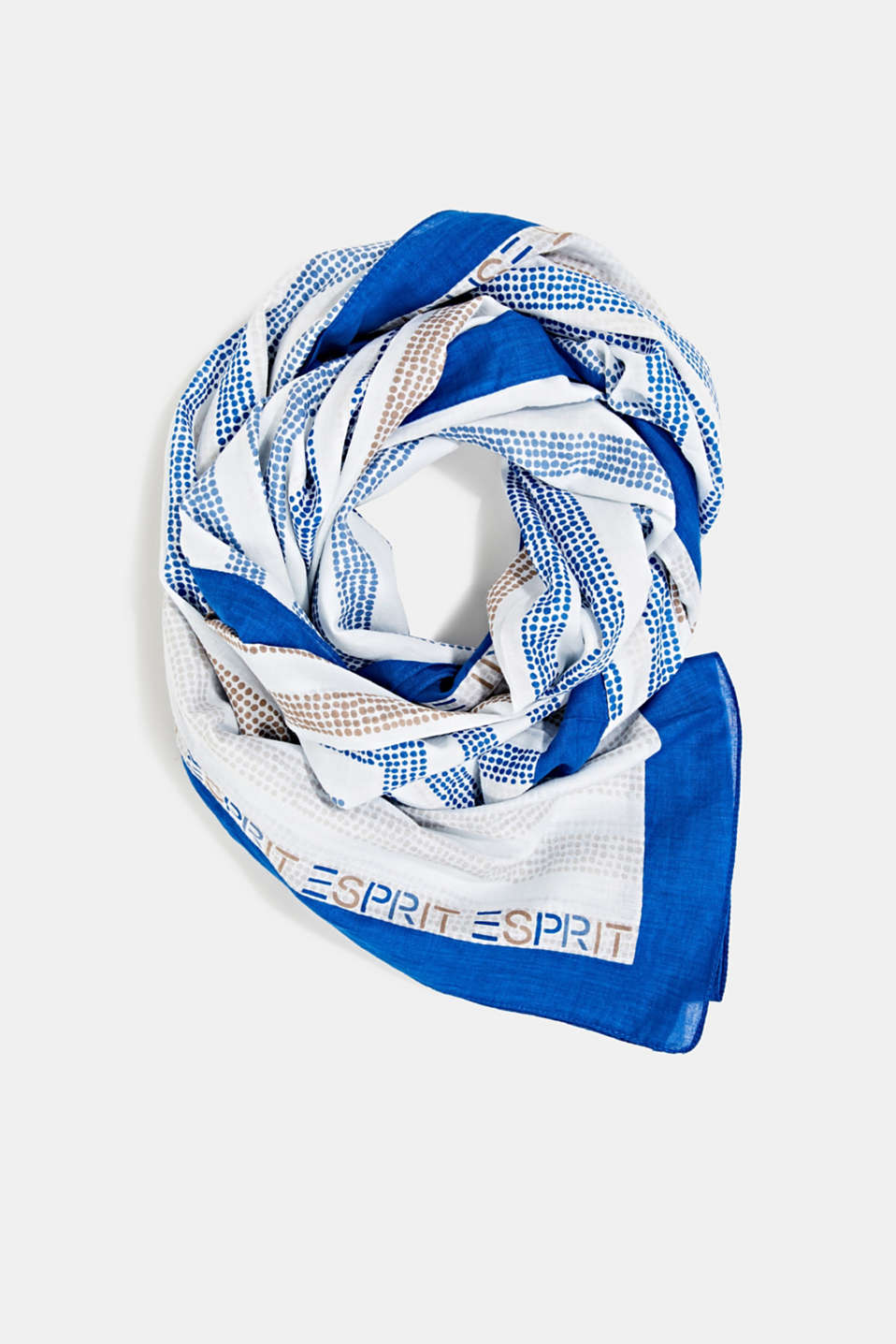 Printed scarf made of 100% organic cotton, BRIGHT BLUE, detail image number 0
