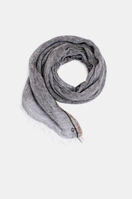 100% linen: Scarf in a melange finish, BLACK, detail