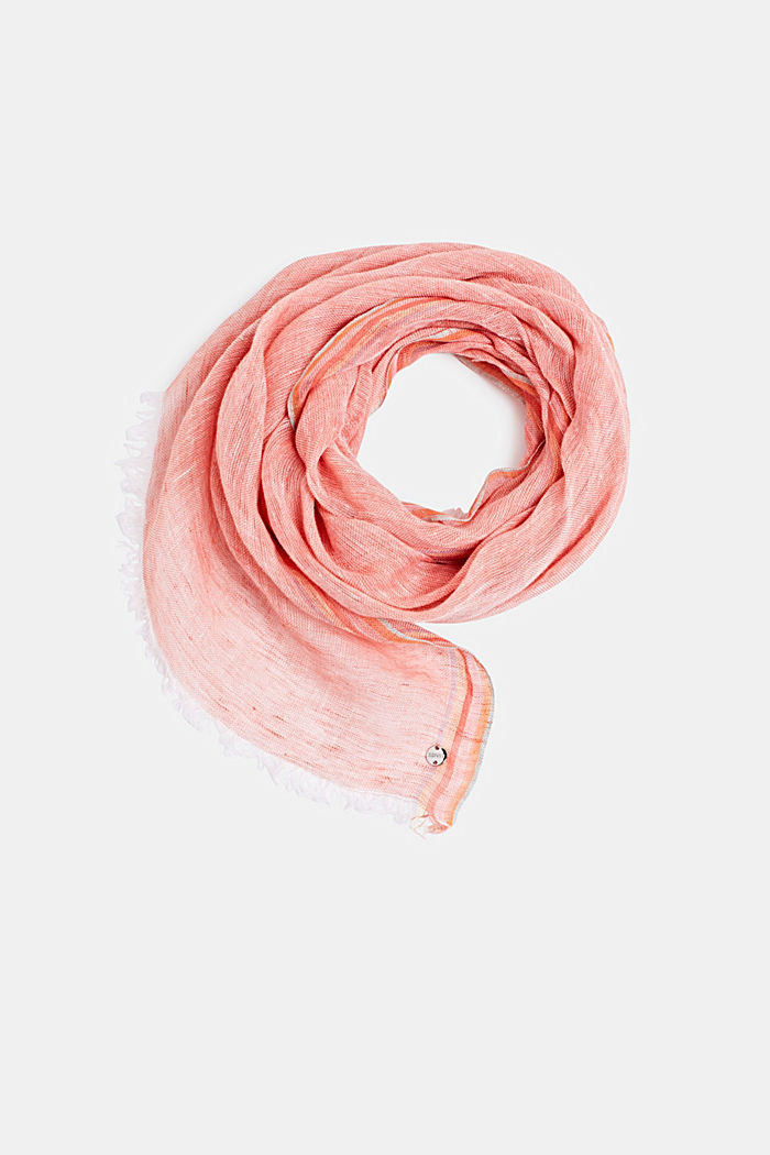 100% linen: Scarf in a melange finish, CORAL, detail image number 0
