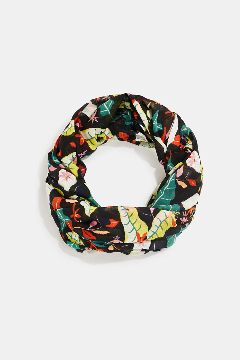 Snood with floral print, BLACK, detail image number 0