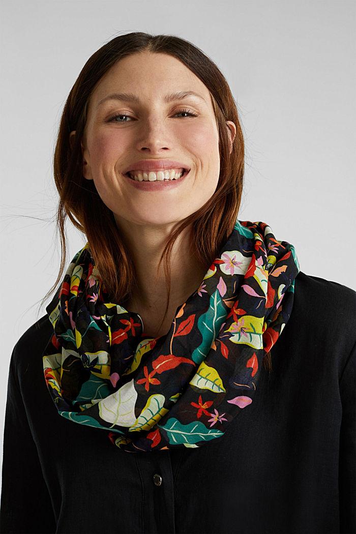 Colsjaal met bloemenprint, BLACK, detail image number 1