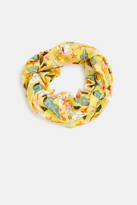 Snood with floral print, BRIGHT YELLOW, detail