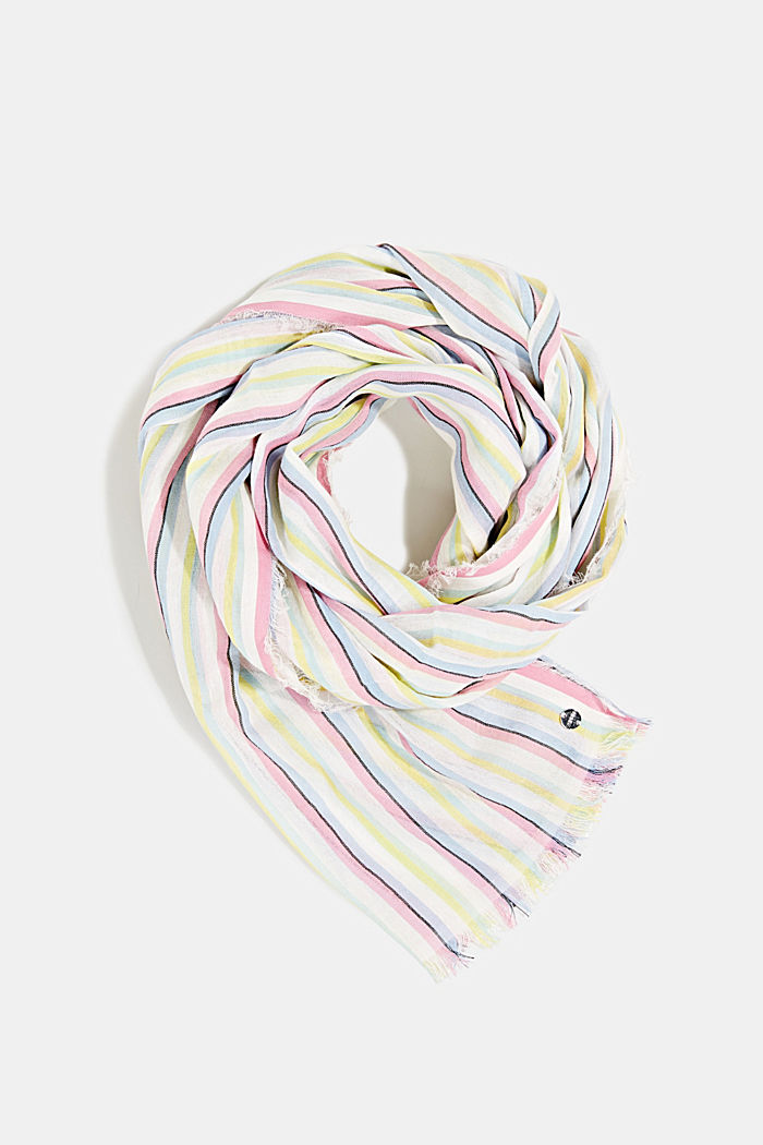Striped scarf made of 100% cotton, OFF WHITE, detail image number 0