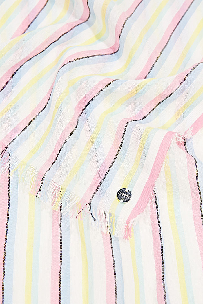 Striped scarf made of 100% cotton, OFF WHITE, detail image number 2