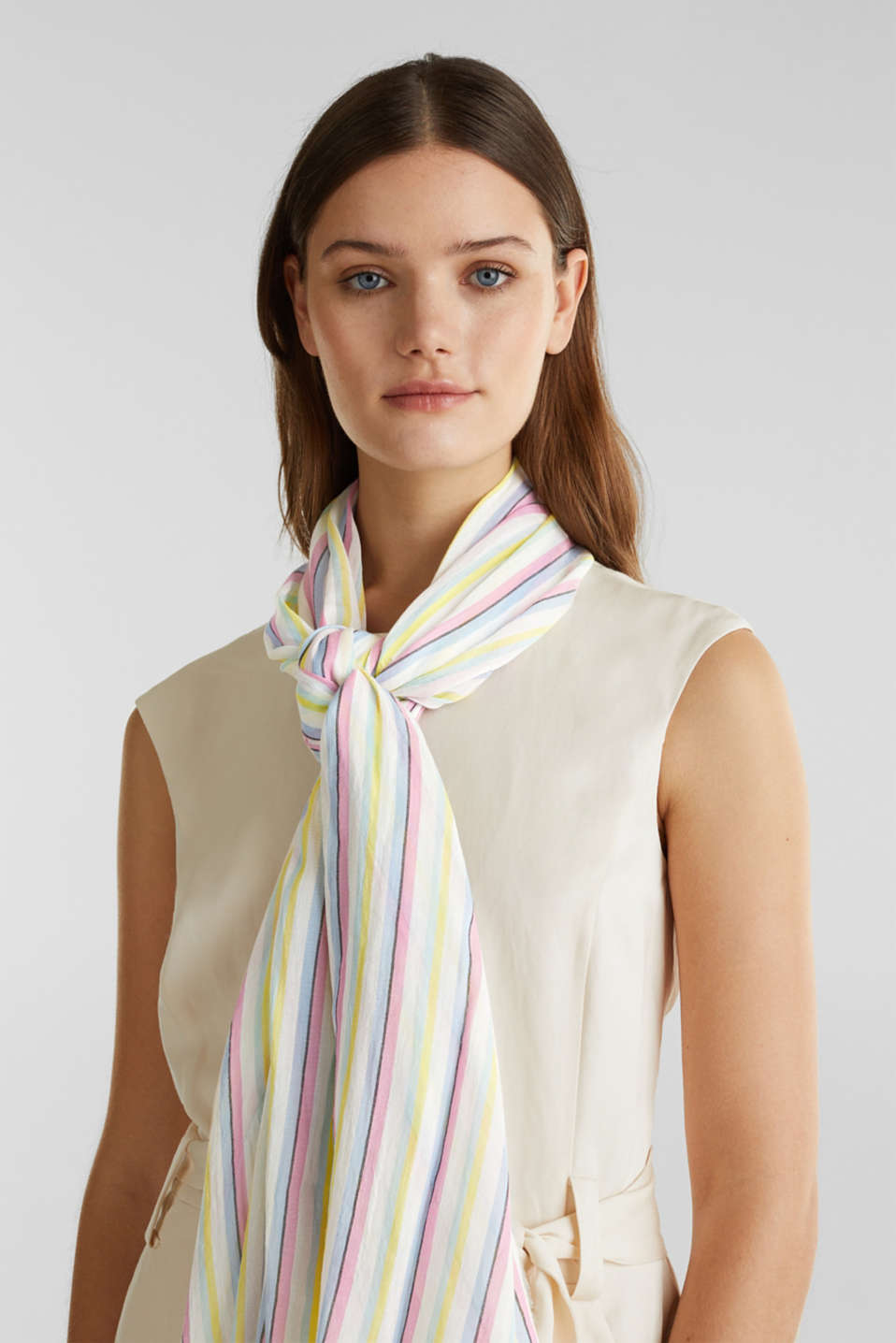 Striped scarf made of 100% cotton, OFF WHITE, detail image number 1