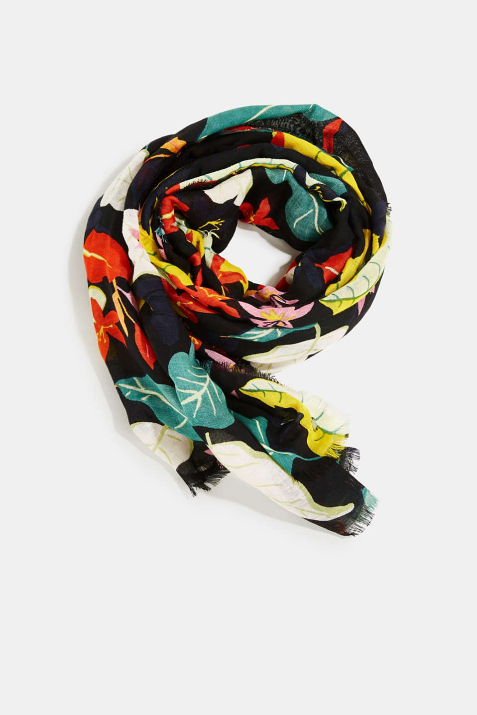 Made of linen and LENZING™ ECOVERO™: printed scarf, BLACK, detail image number 0