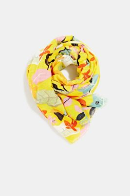 Made of linen and LENZING™ ECOVERO™: printed scarf, BRIGHT YELLOW, detail