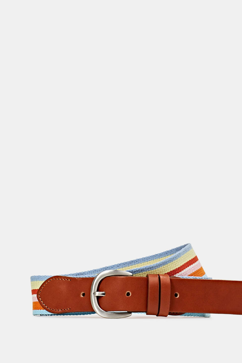 Striped woven belt with leather, RUST BROWN, detail image number 1