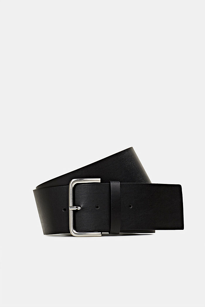 Wide faux leather belt, BLACK, detail image number 0