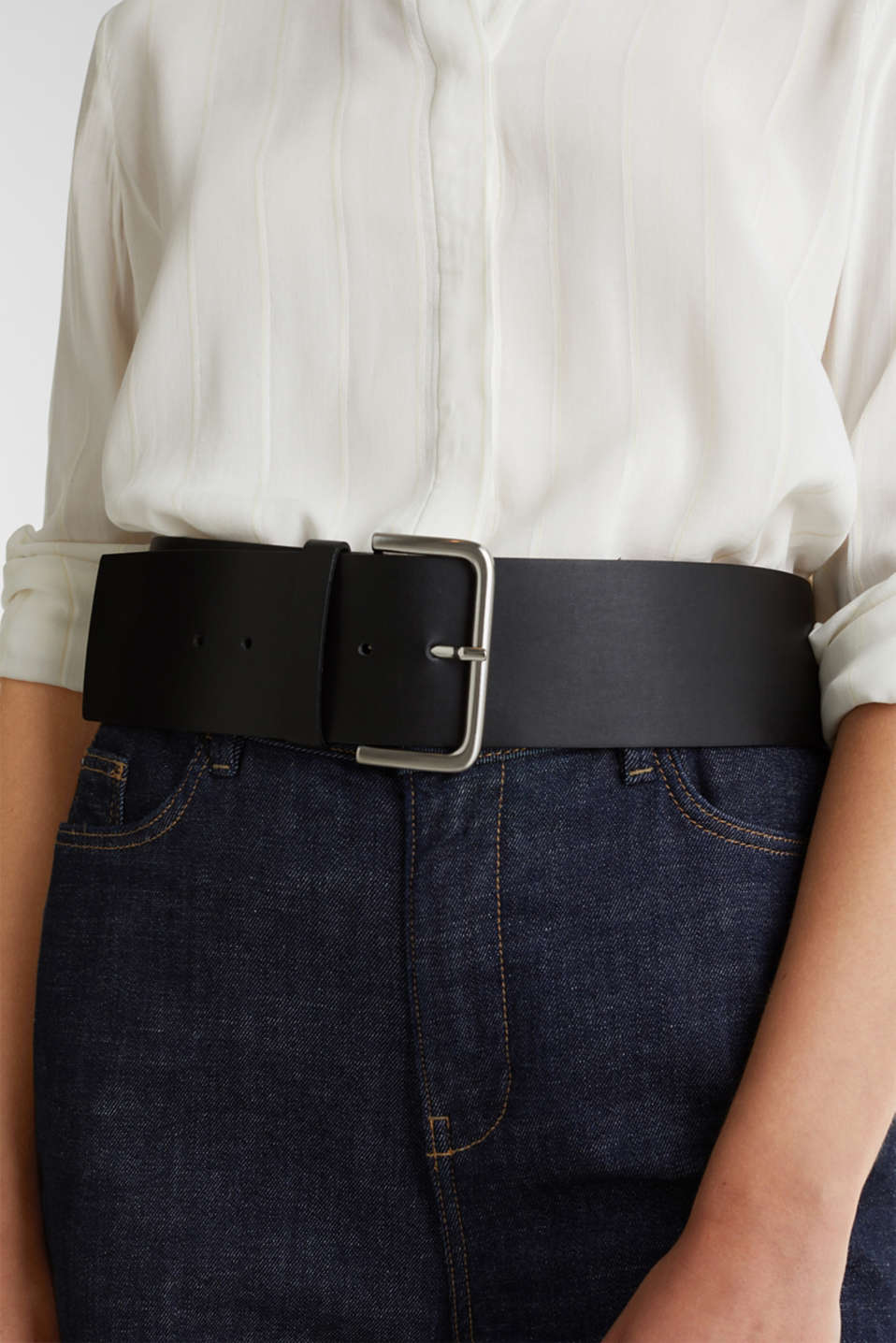 Wide faux leather belt, BLACK, detail image number 2