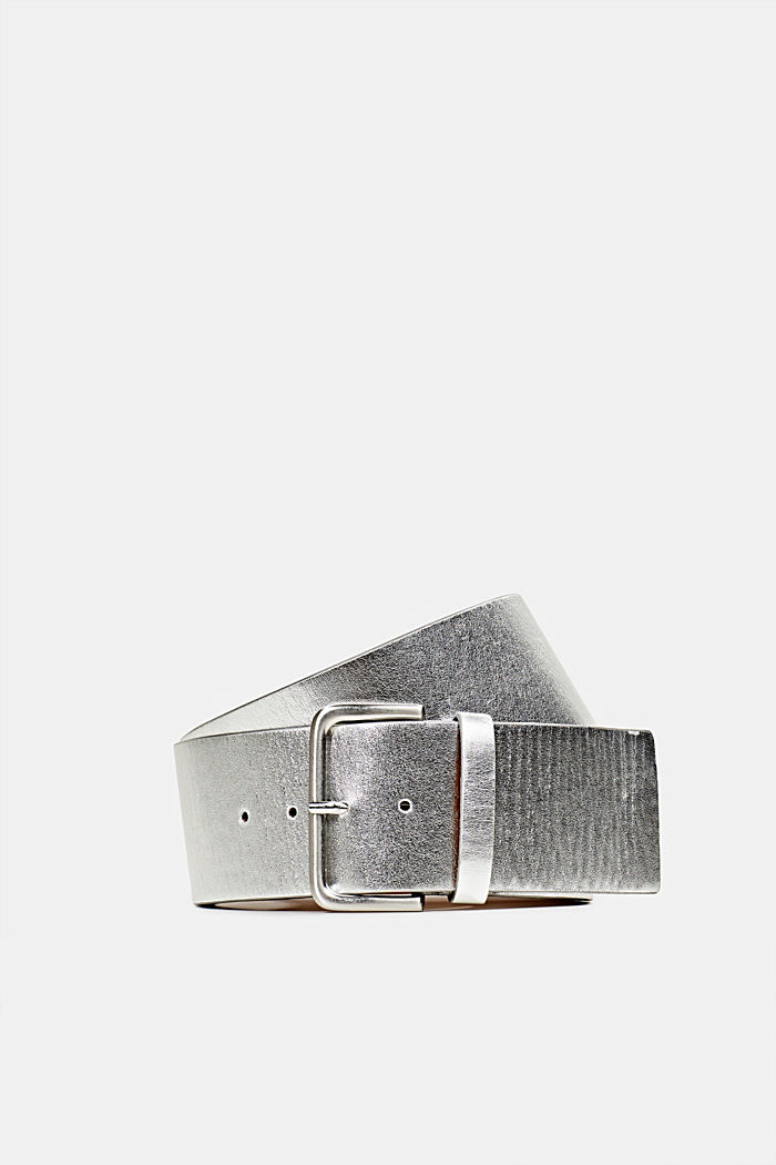 Wide faux leather belt, SILVER, detail image number 0