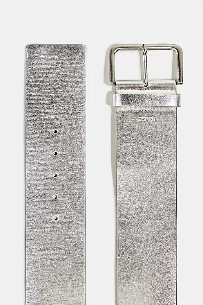 Wide faux leather belt, SILVER, detail image number 1