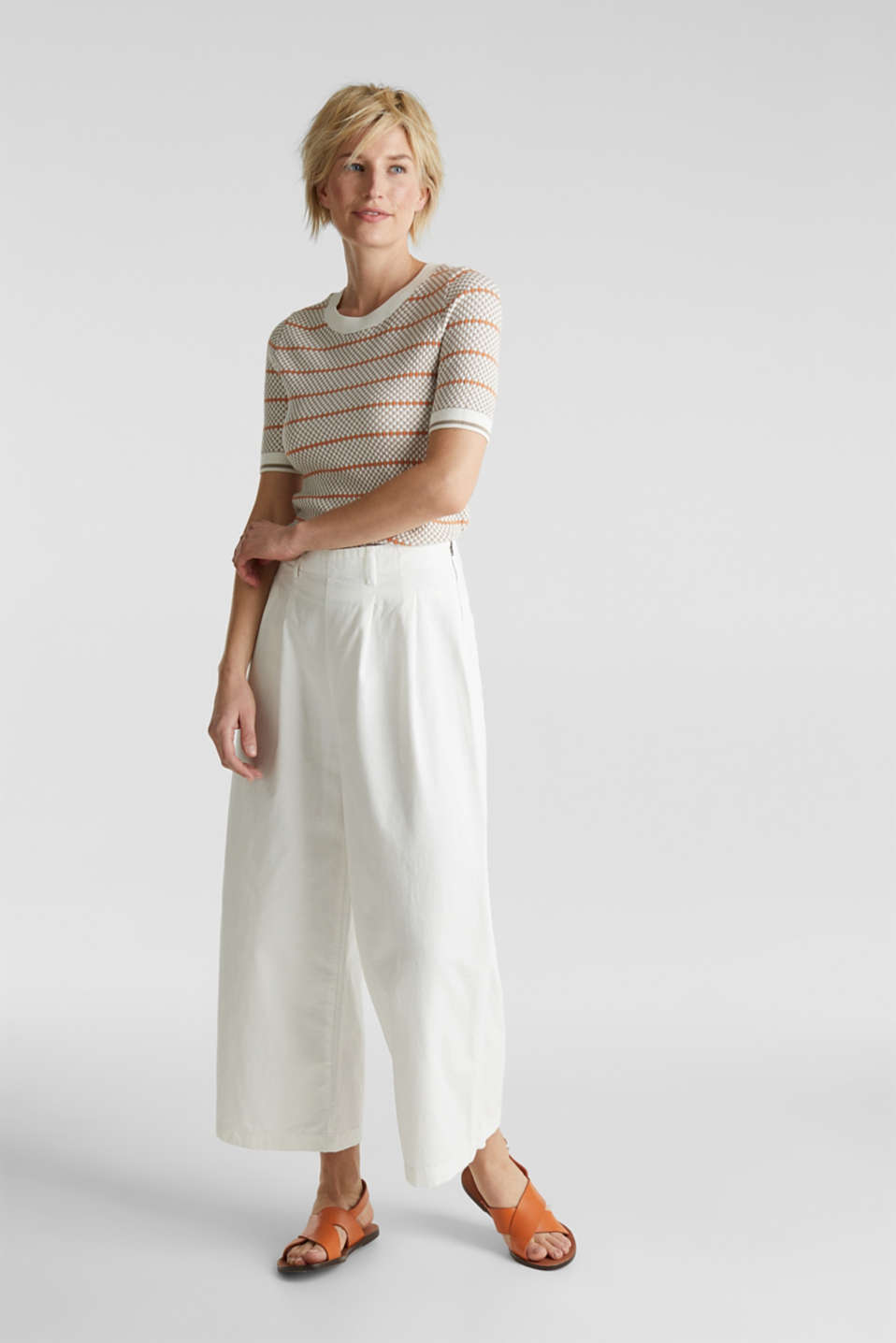 Culottes with waist pleats in blended lyocell, WHITE, detail image number 0