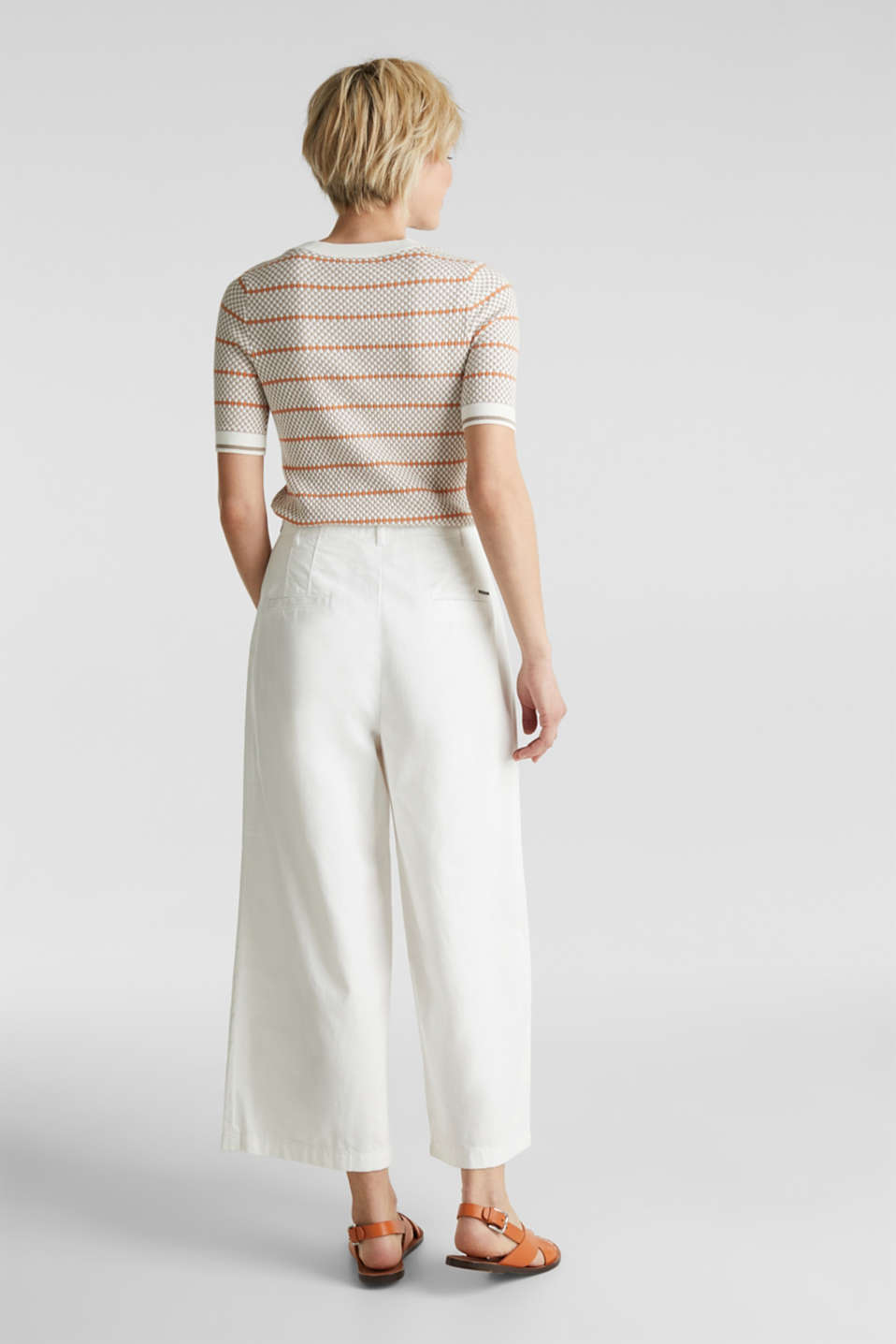 Culottes with waist pleats in blended lyocell, WHITE, detail image number 3