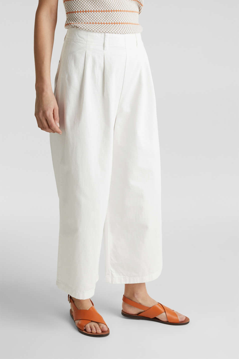 Culottes with waist pleats in blended lyocell, WHITE, detail image number 5