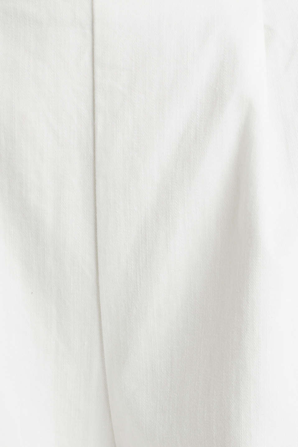Culottes with waist pleats in blended lyocell, WHITE, detail image number 4