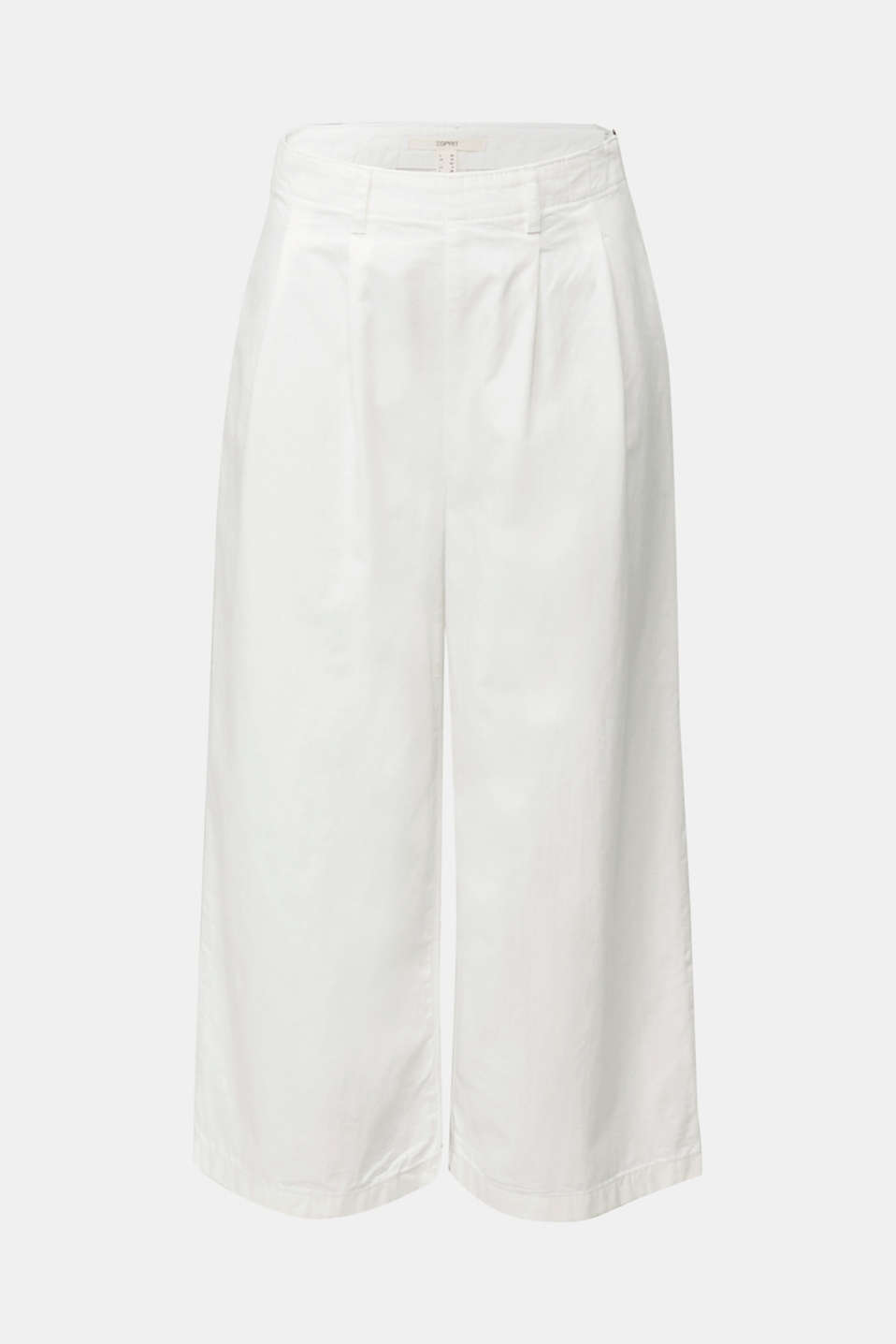 Culottes with waist pleats in blended lyocell, WHITE, detail image number 6