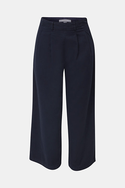 Culottes with waist pleats in blended lyocell