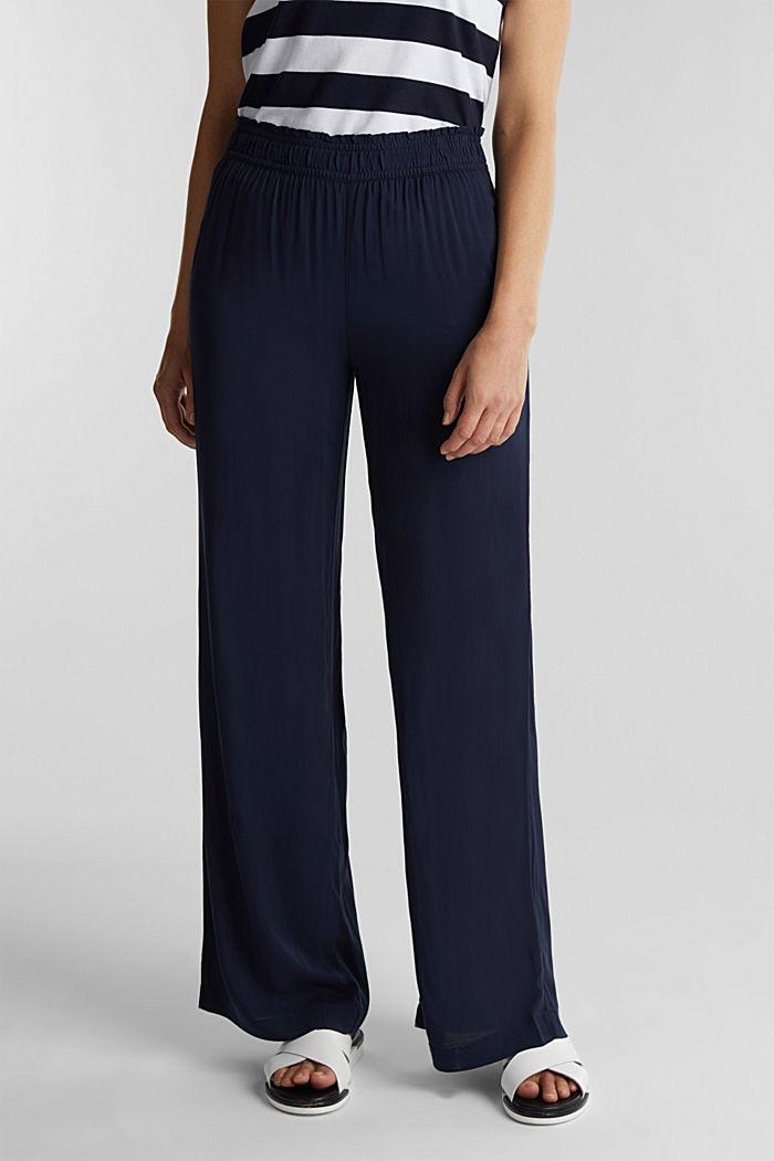 Pantalon large en fibres LENZING™ ECOVERO™, NAVY, detail image number 0