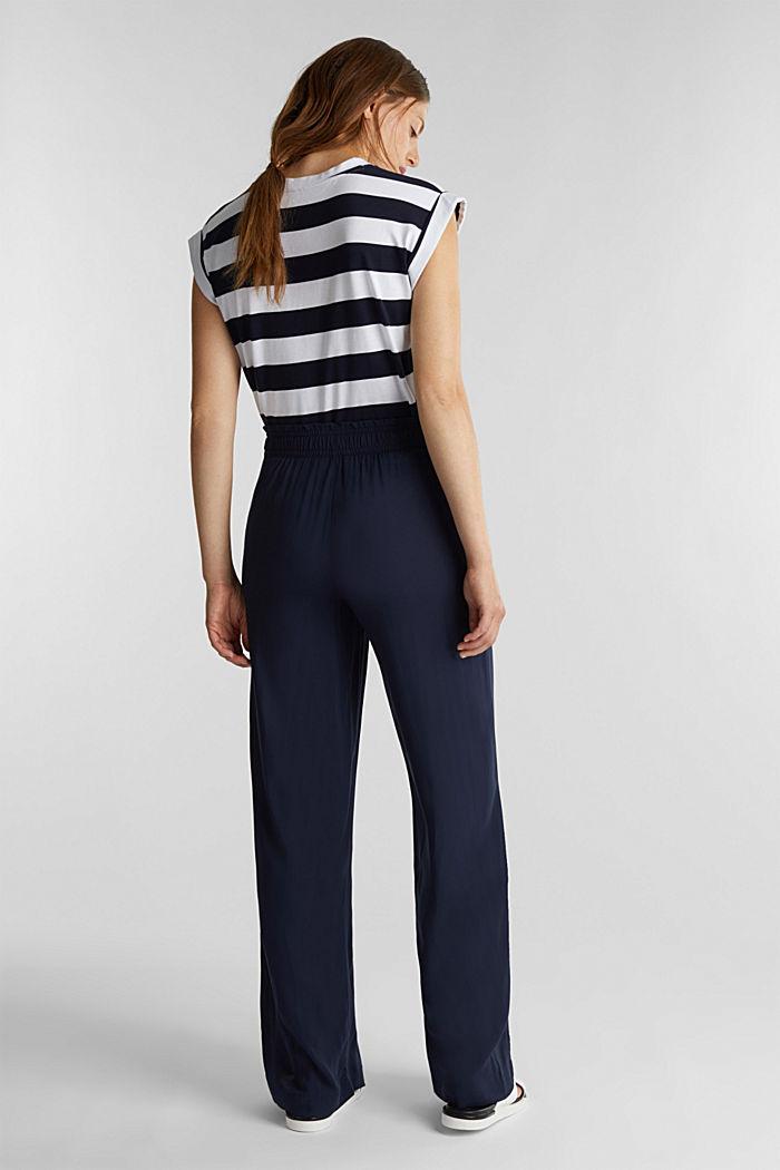 Pantalon large en fibres LENZING™ ECOVERO™, NAVY, detail image number 3
