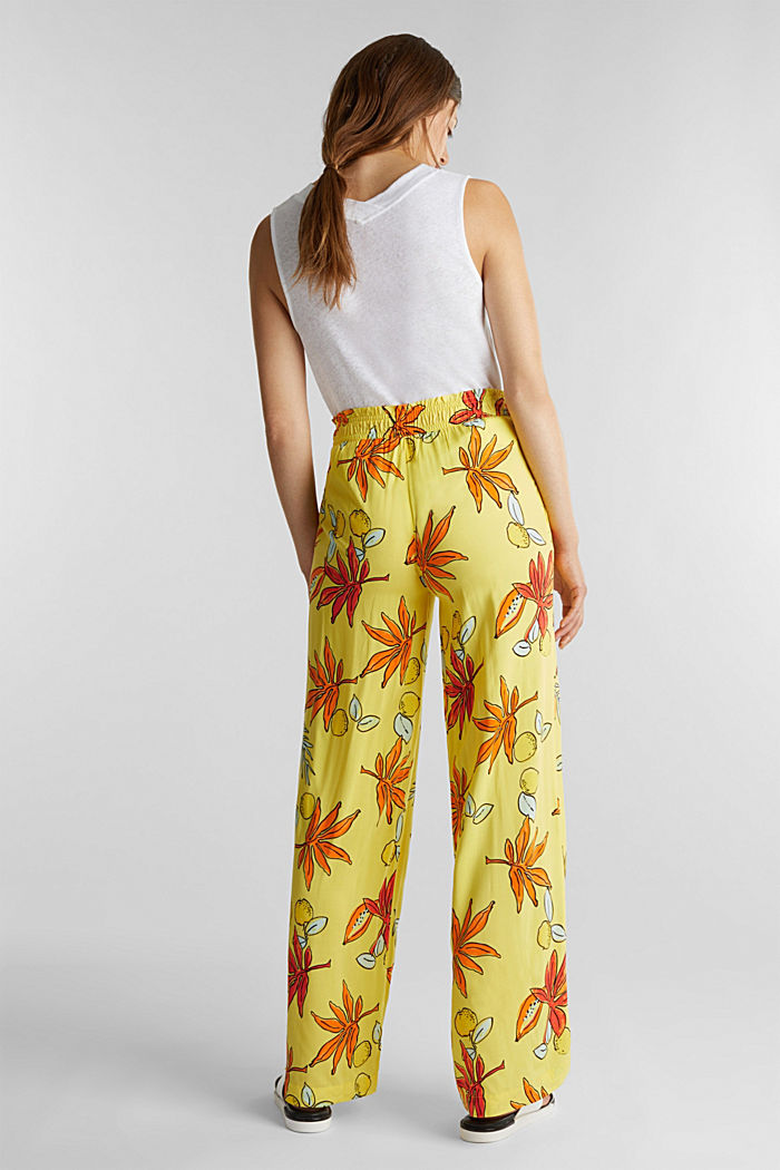 Wide trousers made of LENZING™ ECOVERO™, BRIGHT YELLOW, detail image number 3