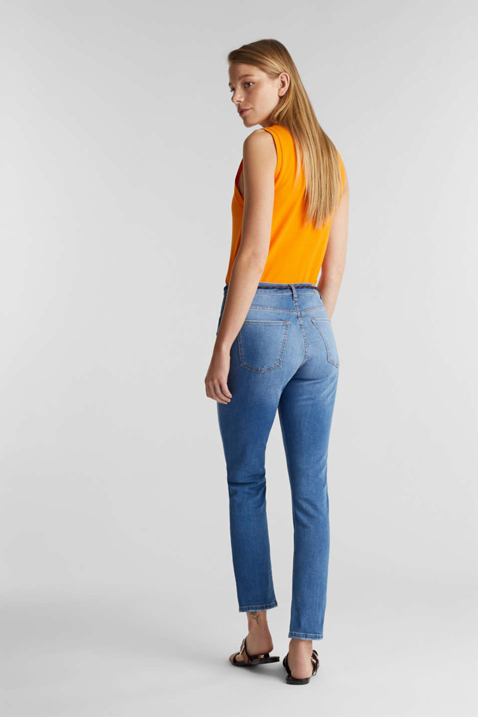 Ankle-length jeans with a tie-around belt, BLUE MEDIUM WASH, detail image number 3