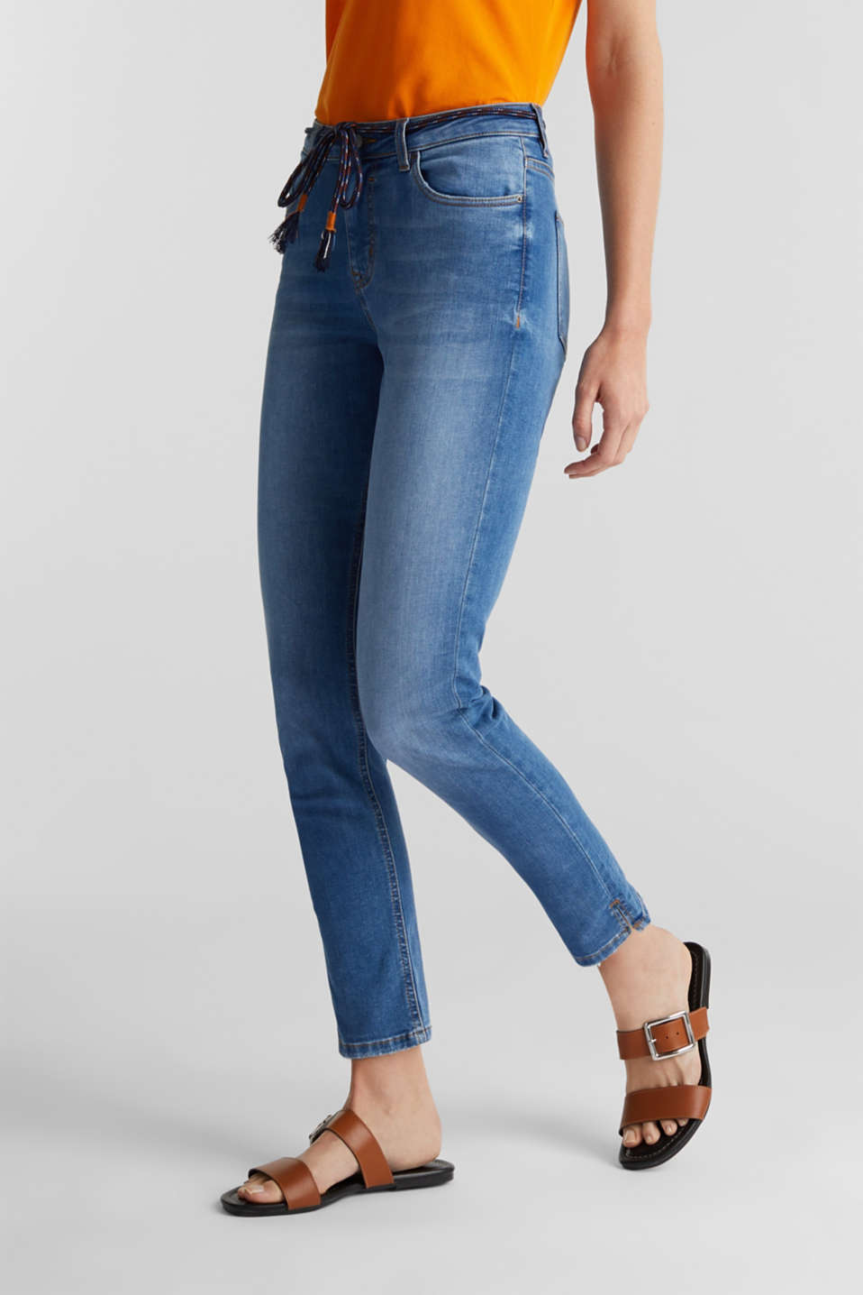 Ankle-length jeans with a tie-around belt, BLUE MEDIUM WASH, detail image number 6