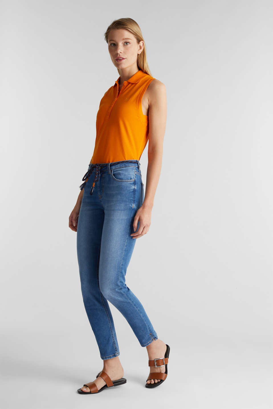 Ankle-length jeans with a tie-around belt, BLUE MEDIUM WASH, detail image number 1