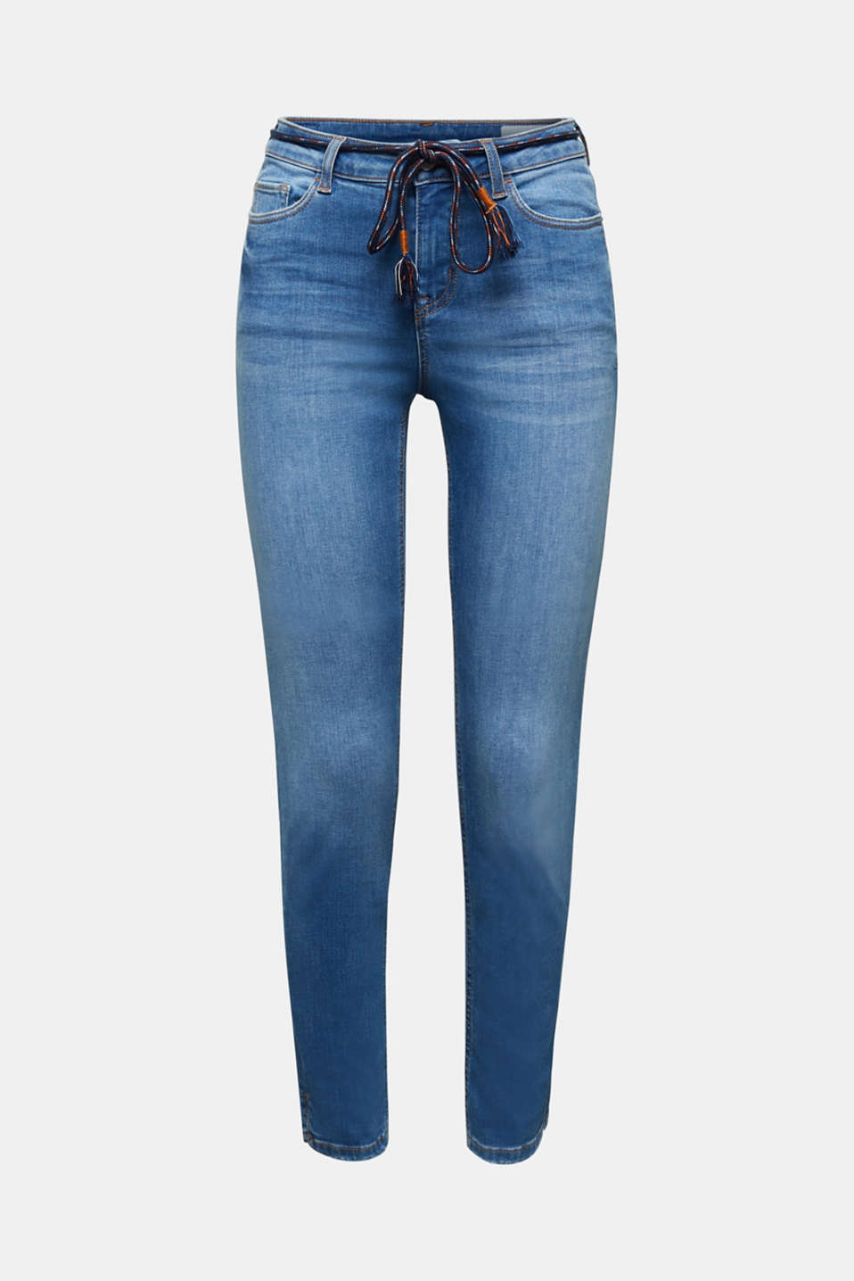 Ankle-length jeans with a tie-around belt, BLUE MEDIUM WASH, detail image number 7