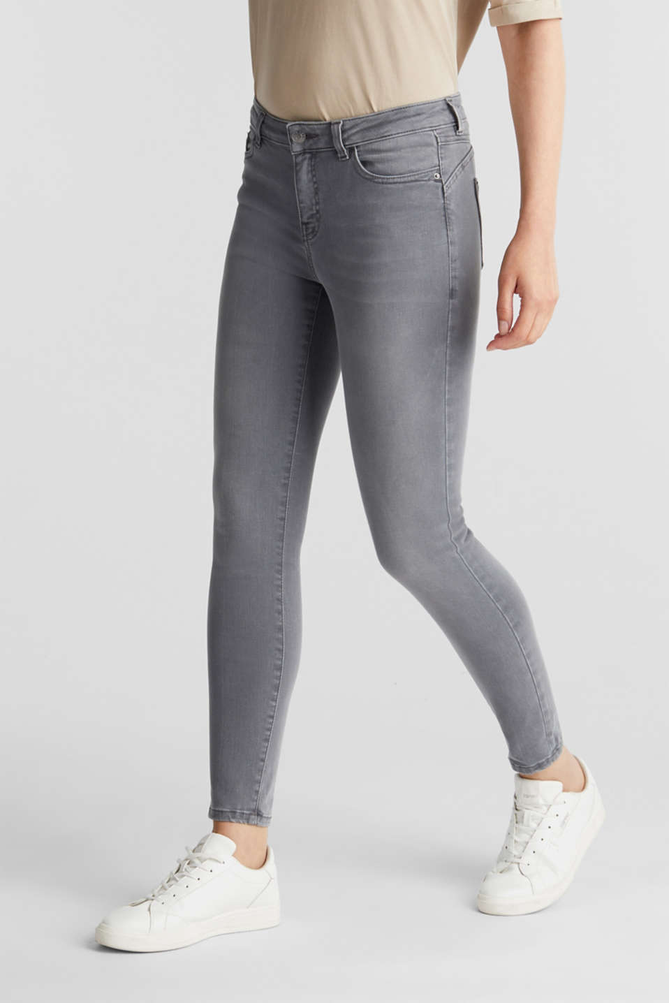Ankle-length shaping jeans, GREY DARK WASH, detail image number 0
