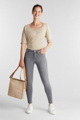 Ankle-length shaping jeans, GREY DARK WASH, detail